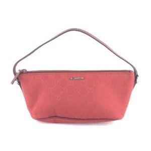 c5e890055e6 Gucci. Gg Logo Pochette Clutch Zip Red Canvas Baguette